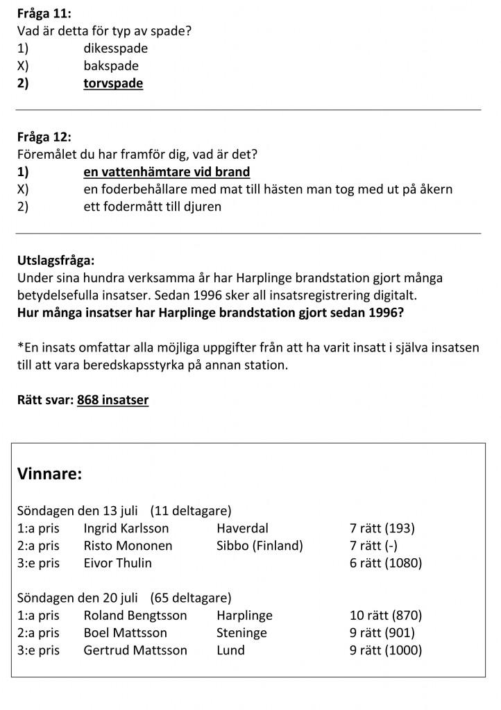 Fråga 11-12 och lista av vinnare